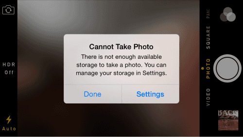 Iphone: Cannot take Photo Prompt