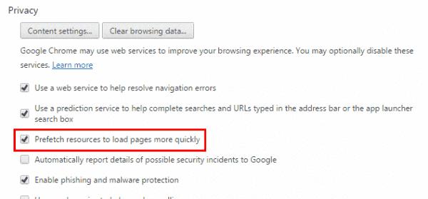 Chrome prefetch setting