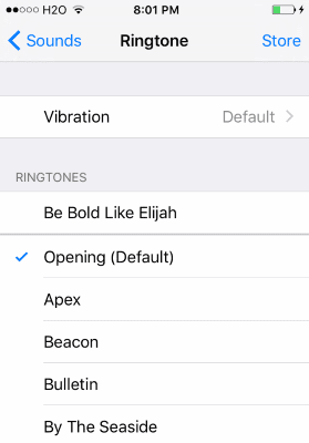 iOS Select Ringtone