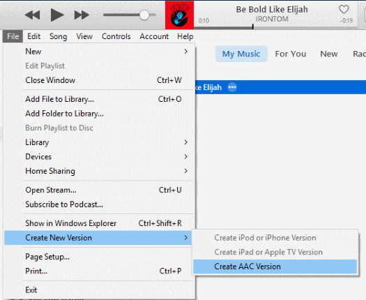 iTunes 12 Create AAC Version