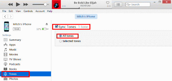 iTunes Sync Tones Selection