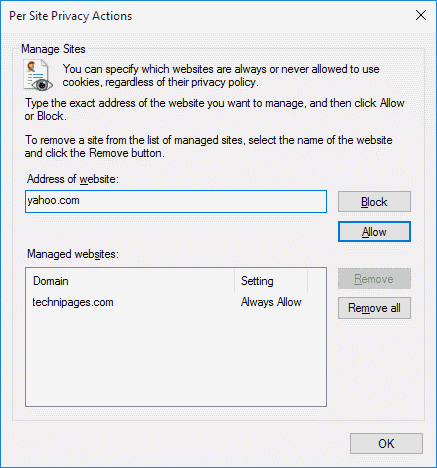 IE11: Enable or Disable Cookies