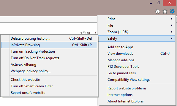 IE11 InPrivate Browsing