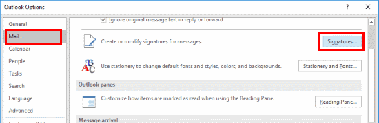 Outlook 2016 Signatures button