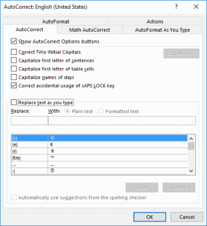 Word 2016 Autocorrect Options button