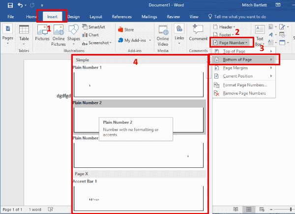 insert page numbers in pdf