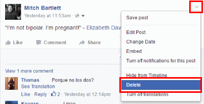 How to delete facebook status ccuart