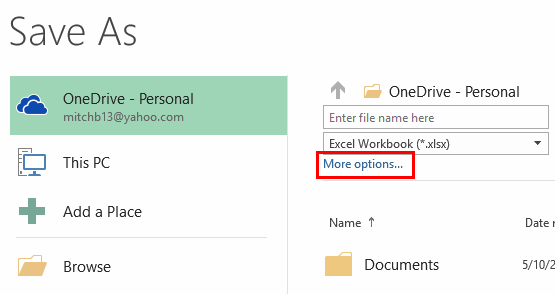 Excel 2016 More Options