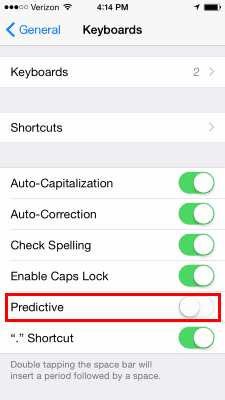 iOS8 Predictive Text Setting