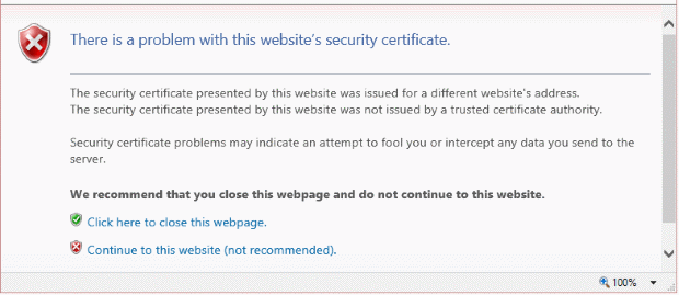 "IE: Solve ""The security certificate has expired or is not yet valid"""