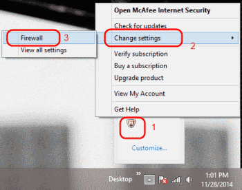 Open McAfee Firewall Settings