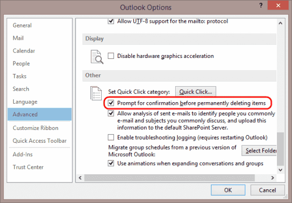 Outlook Delete Prompt setting