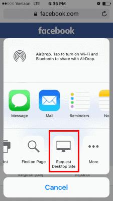 iOS9 Request Desktop Site