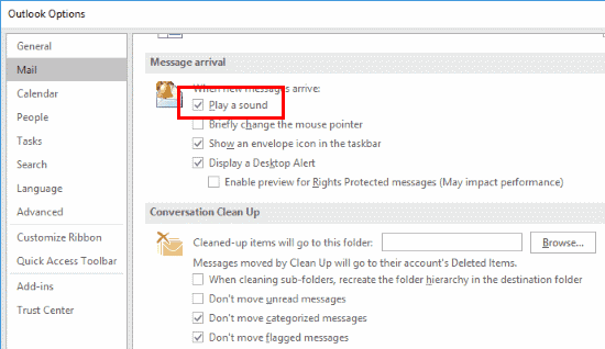 Outlook 2016 Turn Mail Notification Sound On Off