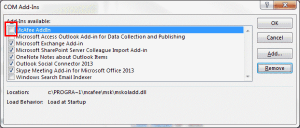 Disable McAfee Tab Outlook