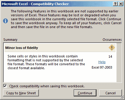 Excel Compatibility Checker Dialog