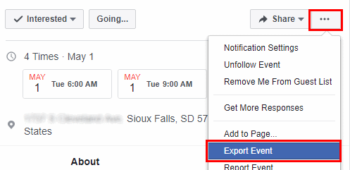 Option to Export Event on Facebook.