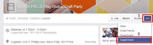 Facebook Export Event Option