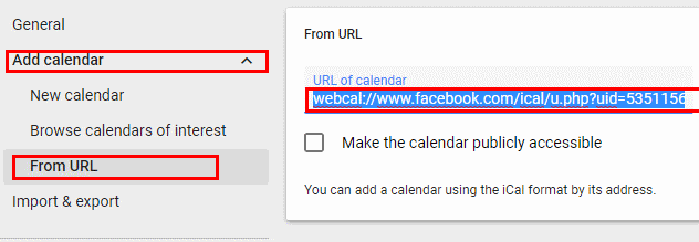 Adding a calendar via a webcal URL in Google Calendar