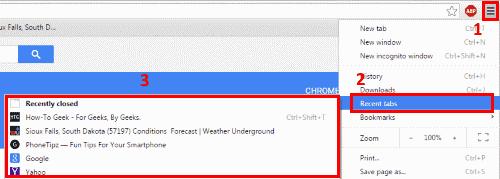 Chrome closed tabs