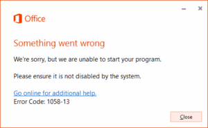 """Fix Office 2013 """"Something went wrong"""" Error 1058-13"""