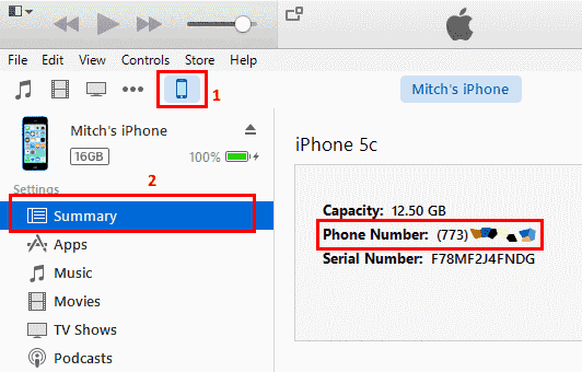 iTunes Phone Number screen