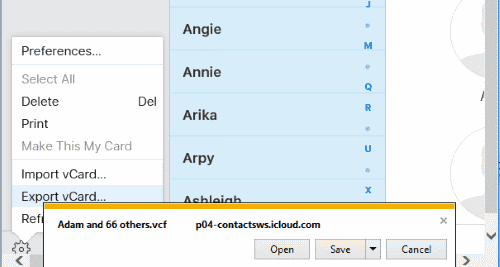 IE Saving iCloud Contacts