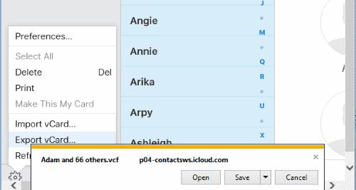 IE Saving iCloud Contacts