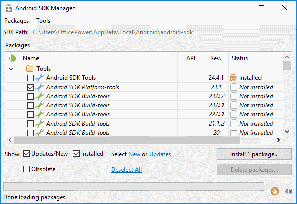 how to install build tools in android studio