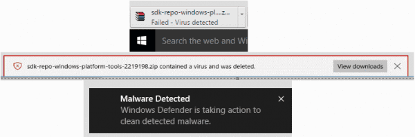 Malware detected messages