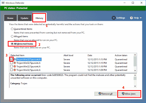 Windows Defender exception
