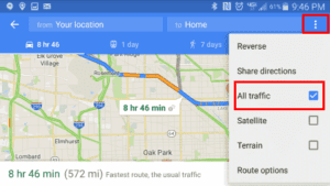 Google: How to Check Traffic to Work or Home