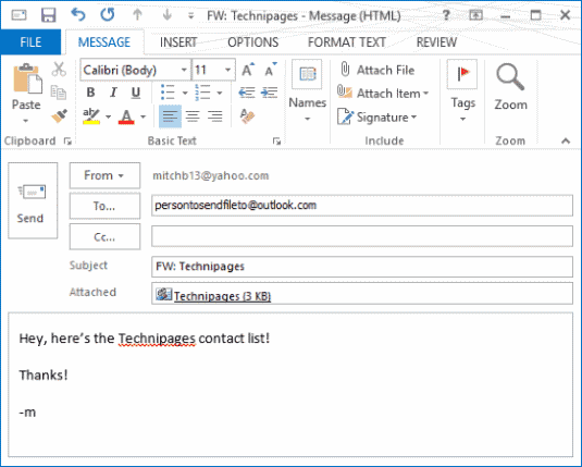 Outlook 2016 & 2013: How to Send a Contact List