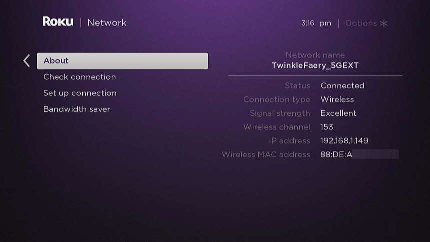 Roku Network About Screen