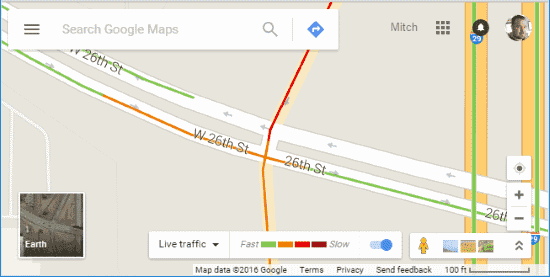 Traffic levels in Google Maps
