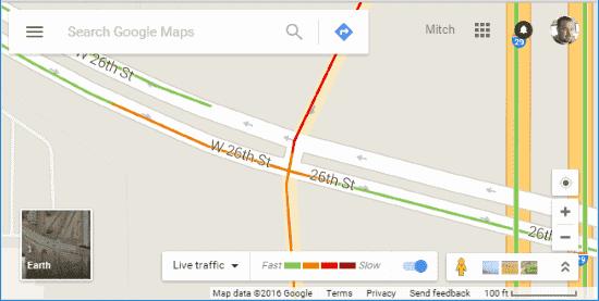 Traffic levels in Google Maps
