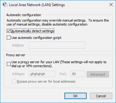 Windows LAN settings