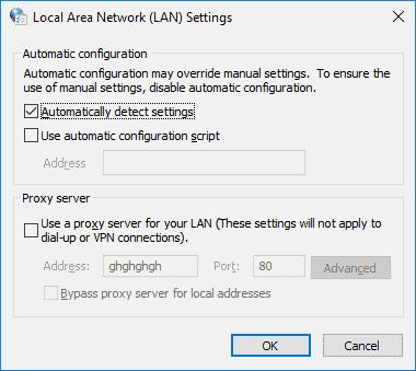 Windows LAN settings