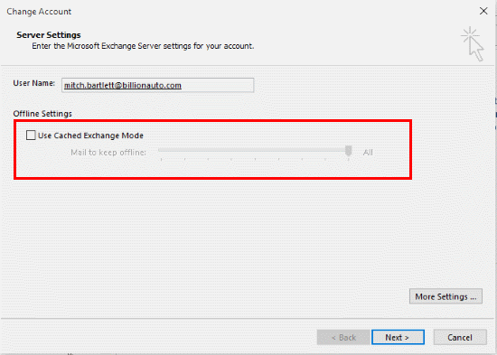 Outlook Cached Exchange Mode check box