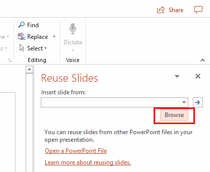 PowerPoint 2019/2016: Import Slides from Another Presentation