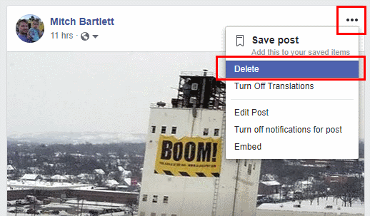 Facebook Delete Post