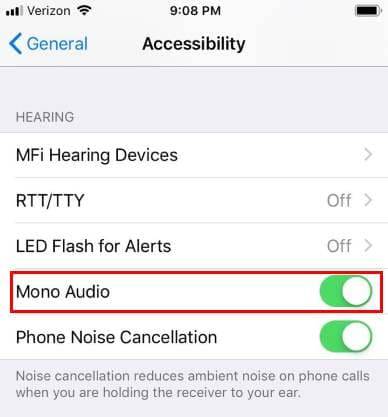 iPhone Mono Audio Setting
