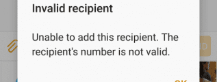 Android Unable to Add Recpient Message
