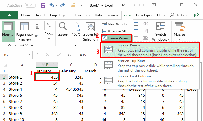 Microsoft Excel: Freeze or Unfreeze Panes, Columns, and Rows
