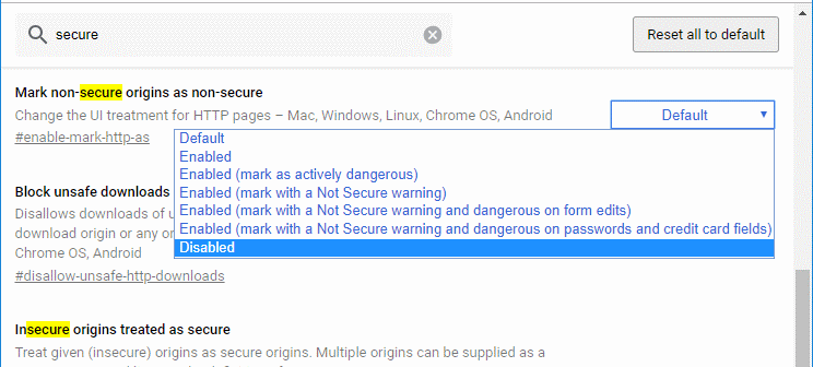 "Chrome: Enable/Disable ""Not Secure"" Warning"