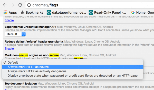 """Chrome: Enable/Disable """"Not Secure"""" Warning"""