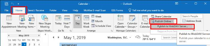 Outlook Publish Calendar