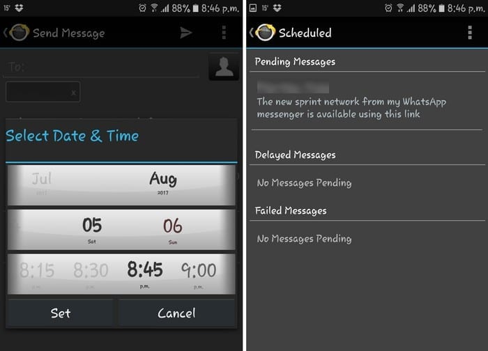 Android: Schedule Text Message