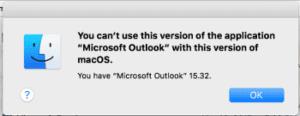 Outlook Won't Work in MacOS High Sierra