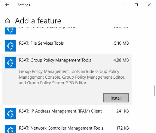 Windows 10: Install Group Policy Management Console